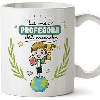 MUGFFINS Taza Profesora (Mujer) - Aquí Bebe una Súper Profesora - Regalos Originales para Profesoras y Maestras - Cerámica 350 ml / 11oz: Amazon.es: Hogar