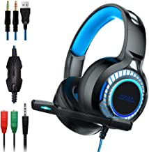EOUER Stereo PC Gaming Headset with Microphone,Surround Sound Computer Headset with LED Light, 50mm Drivers,3.5mm Jack,Bass Surround, Soft Memory Earmuffs Perfect for Desktop, Laptop, Mac, IPad.