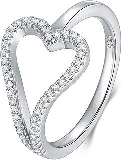 BORUO 925 纯银戒指,方晶锆石心爱 CZ 婚戒可叠放戒指尺寸 4-12