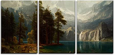 wall26 - 3 Piece Canvas Wall Art - Sierra Nevada in California by Albert Bierstadt Giclee - Modern Home Decor Stretched and Framed Ready to Hang - 24
