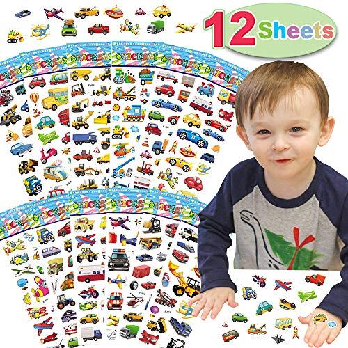 12 Bögen Aufkleber Set für Kinder, Lustige 3d Schaumstoff Transportaufkleber mit Autos, Flugzeug, Zug, Motorrad, Krankenwagen, Polizeiauto, Feuerwehrwagen, Schulbus, Raumschiff und mehr