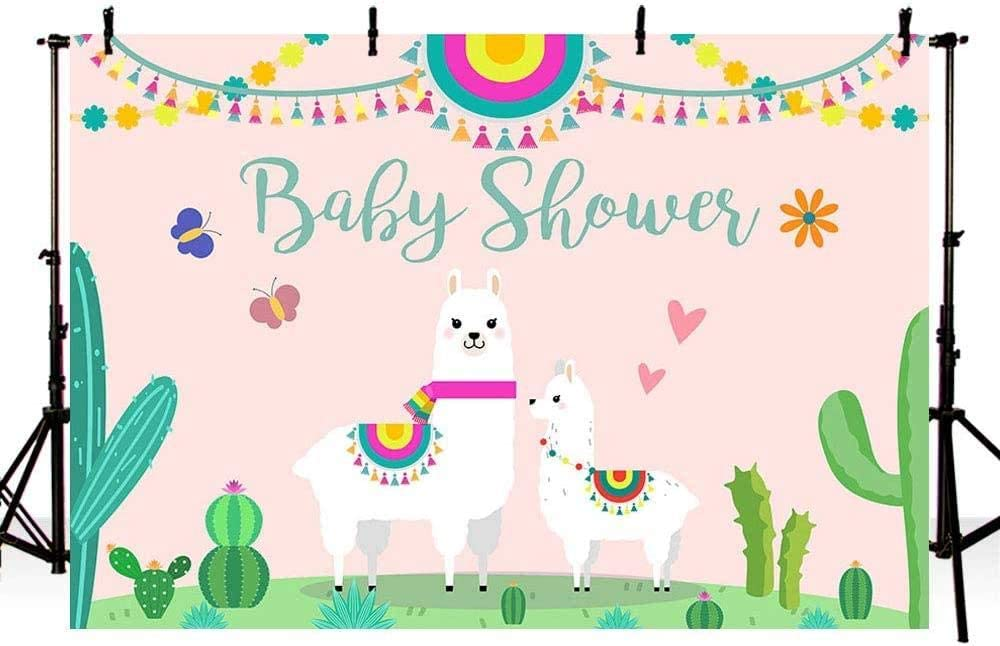 New Llama Girl Baby Shower Photo Studio Booth Background Pink Fiesta Cactus Mexican Llama Mama Se/ñorita Photography Backdrops Banner for Cake Table Supplies 7x5ft