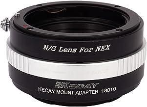 KECAY Adaptador para Adaptar Lentes de Nikon (G) DX AFS Mount a Cámaras Sony E-Monte NEX3 NEX5 NEX-5C NEX-5N NEX-5R NEX6 NEX7 NEX-F3 VG10 VG20 - Adaptador Lentes Nikon (G) para Sony NEX N/G-NEX
