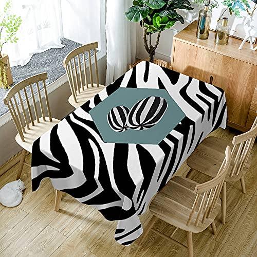 XXDD Mantel Rectangular Rayas Blancas y Negras Patrón geométrico Algodón Lavable a Prueba de Polvo Mantel de Comedor Textiles para el hogar A4 140x200cm