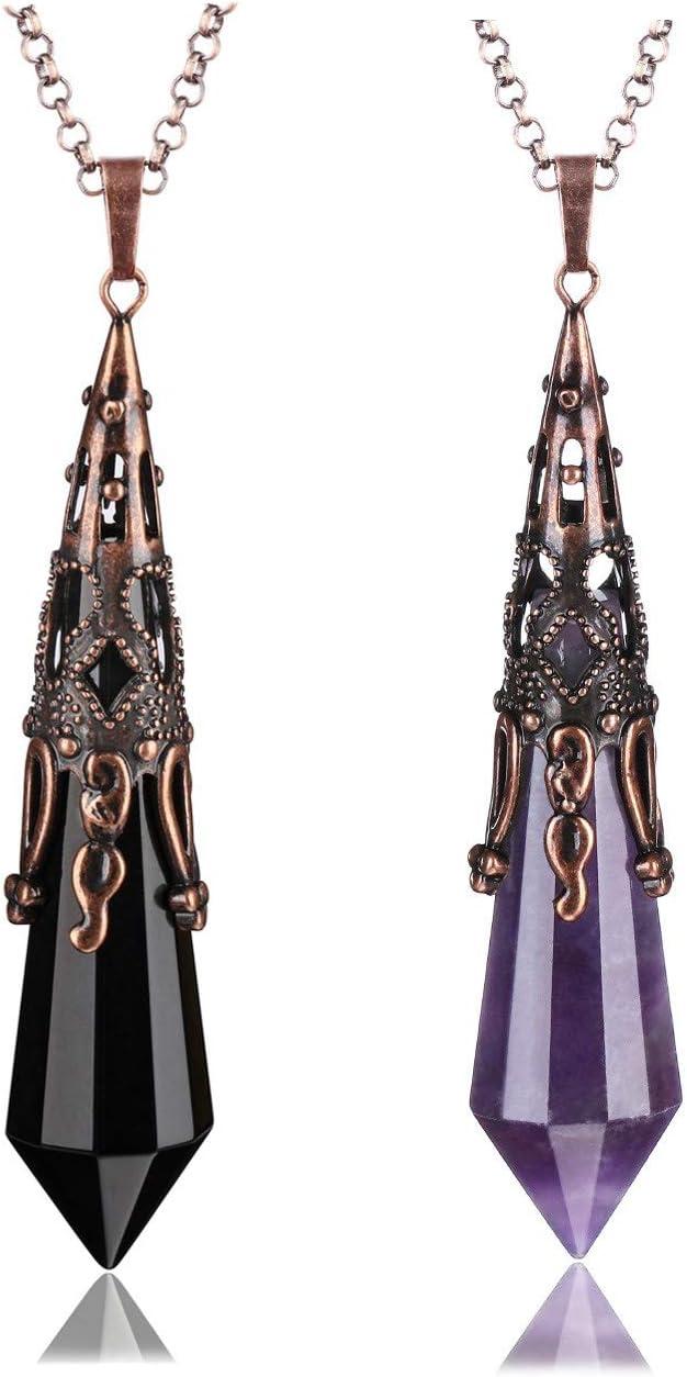 JOVIVI 2pcs Natural Amethyst Obsidian Stone Crystal Necklace 12 Facted Therapy Healing Dowsing Divination Pendulum Pendant Reiki Charged Chakra Balancing
