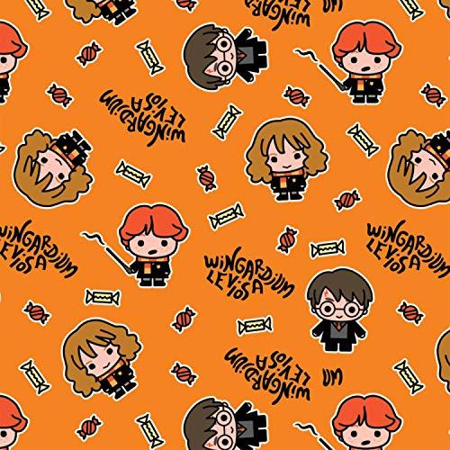 Tela de Harry Potter CAM431 Kawaii Halloween Orange – 0,5 m múltiplos – 100% algodón (CAM431 Kawaii Halloween Orange)