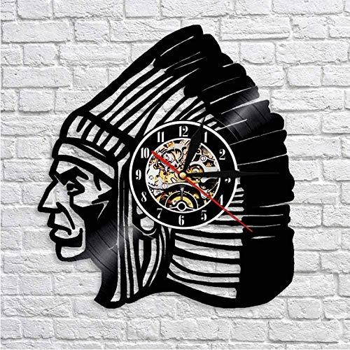 szhao Antiguo Reloj de Pared Indio Americano Silueta Vintage Cacique Indio Reloj de Tiempo de grabación de Vinilo decoración de Arte de Pared 12 Pulgadas-No_Led