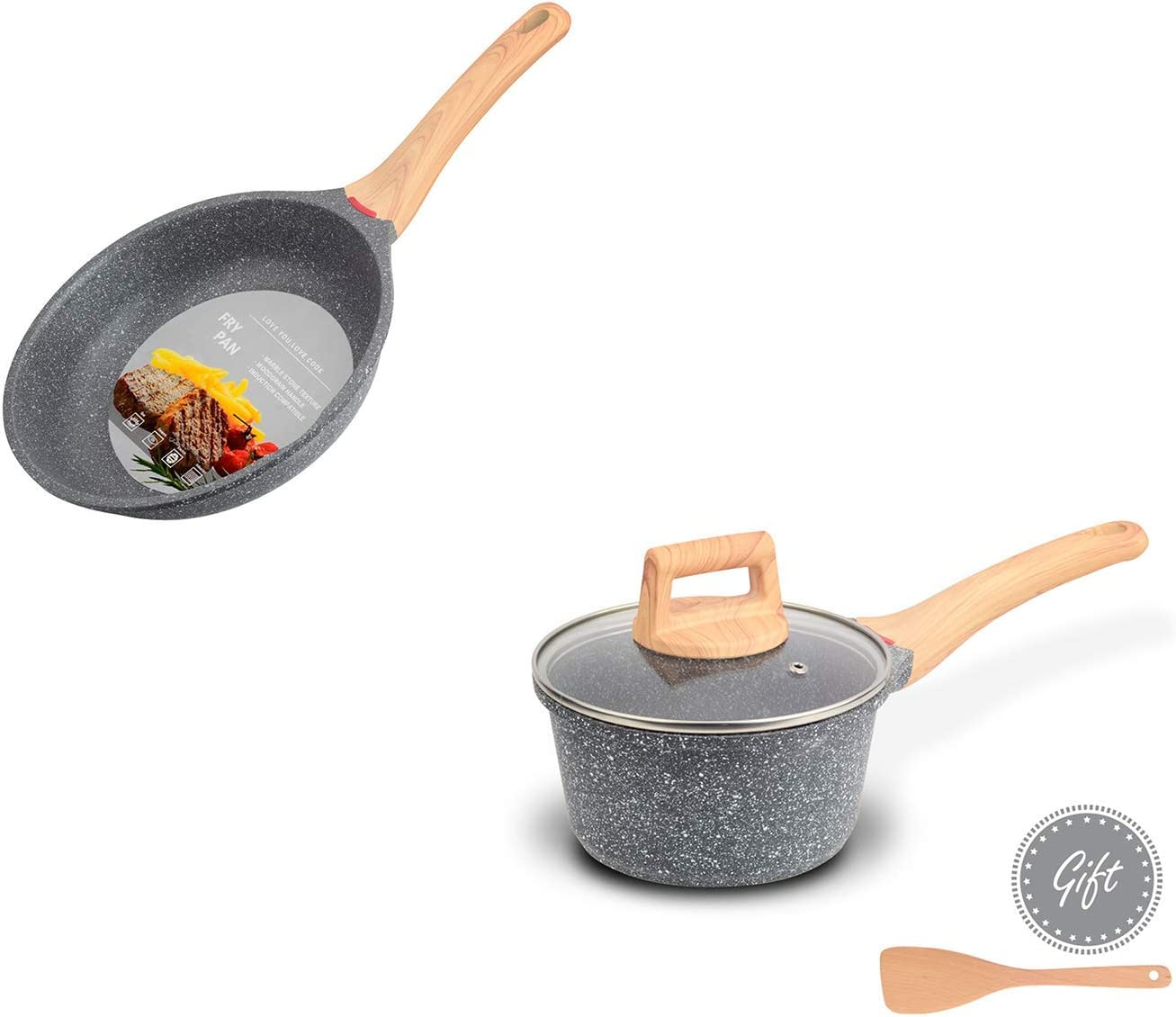 Hansubute 8.5inch frying pan 1.5QT Deluxe sauce set and gift