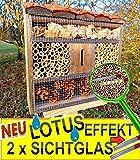 FDV-LOTUS-SCHWARZ dunkles Holz massives Insektenhotel, mit Lotus-Effekt (Oberfläche WASSERABWEISEND), MIT 2 x SICHTGLAS 8 / 11 mm, komplett mit Zellstoff, Insektenhotels mit Holzrinde-Naturdach, FDV-LOTUS-OS schwarz anthrazit dunkelgrau Holz Nistkästen biologische Garten Insektenhaus - als Ergänzung zum Meisen Nistkasten Meisenkasten oder zum Vogelhaus