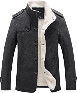 Sun Lorence Men's Stand Collar Wool Blend Single Breasted Pea Coat with Fleece Lined