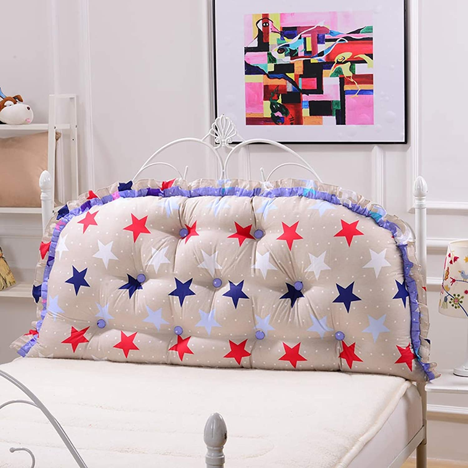 Headboard Bed Backrest Cushion Bed Cushion Bedside Pillow Cotton Soft Large Pillow Lumbar Support Detachable and Washable 11 Solid colors 4 (color   A11, Size   120  65cm)