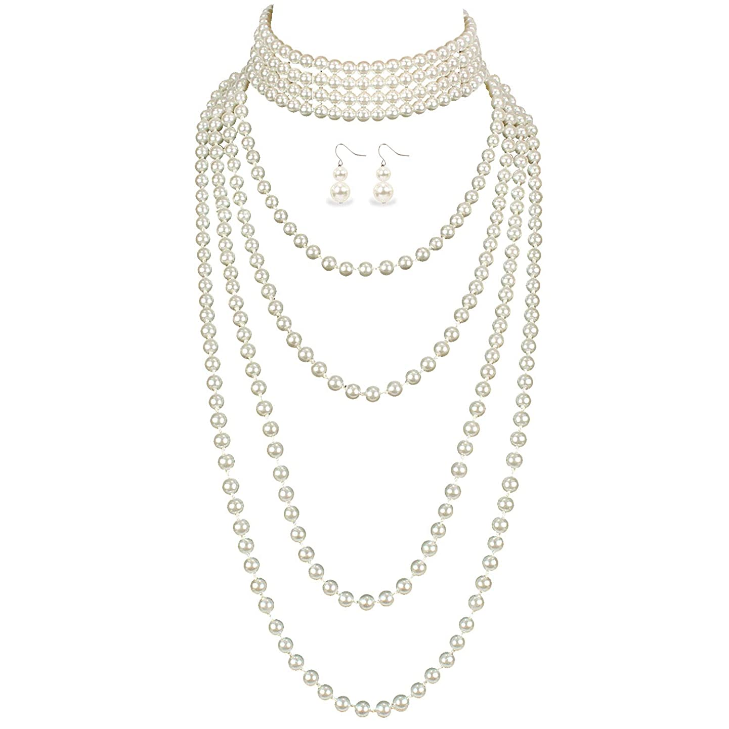 LuckyHouse Multi Layer Faux Pearl Strands White Necklace for Women Costume Jewelry