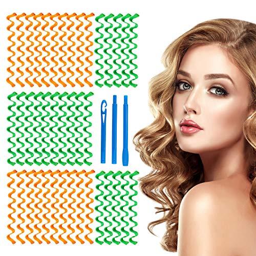 HALOVIE - Rulos de pelo con rizos de 40 piezas para peinado en espiral y 3 ganchos de estilo rizador de pelo sin calor para peinado de pelo largo hasta 55 cm