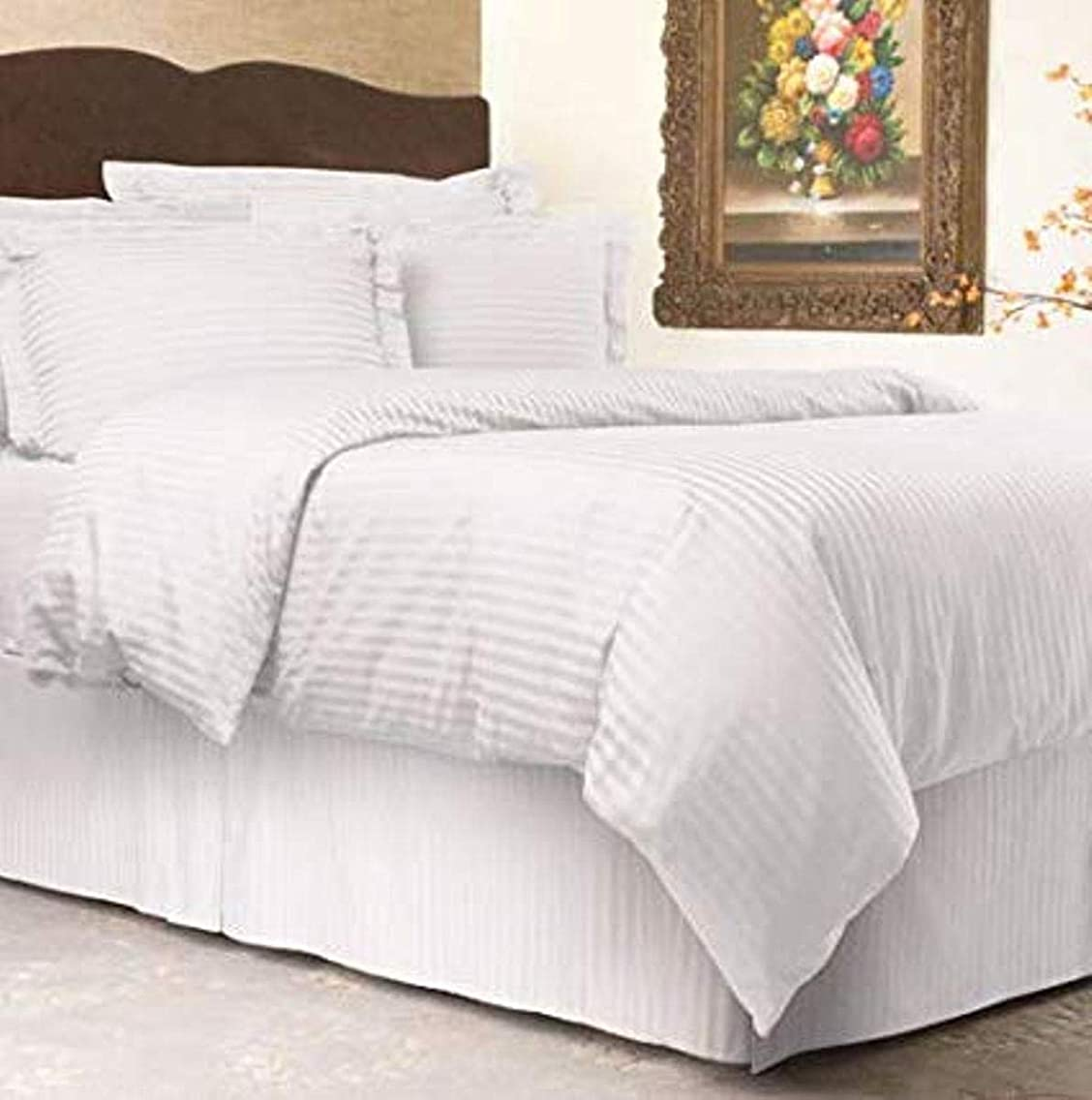 LINENWALAS Soft & Cozy Sateen Weave Stripe Patterned Duvet Cover with Zipper 3-Piece Set 100% Long Staple Cotton 300 Thread Count - White - King/Cal King