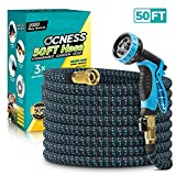 OCNESS Expandable Garden Hose, 50ft Lightweight Flexible Water Hose with 9 Function Spray Nozzle, 3/4' Solid Brass Fittings, Double Latex Core, Durable Fabric, Expanding Hose for Lawn Car Pet Washing