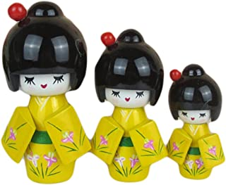Kylin Express 3 Pcs Lovely Japanese Kimono Girl Wooden Dolls with Orchid, Yellow