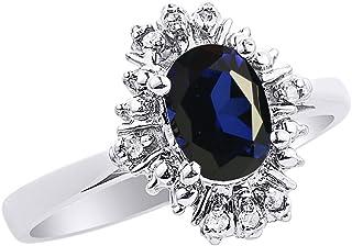 Diamond & Sapphire - Juego de anillos de oro blanco de 14 quilates con diamantes