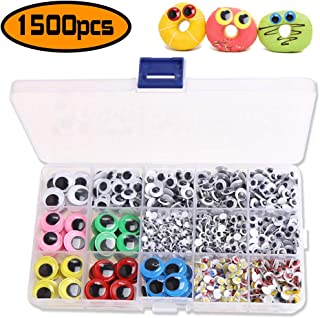 KUUQA 700 Pieces Mixed Wiggle Googly Eyes Sew on Eyes Self-adhesive DIY Scrapbooking Crafts Assorted Sizes