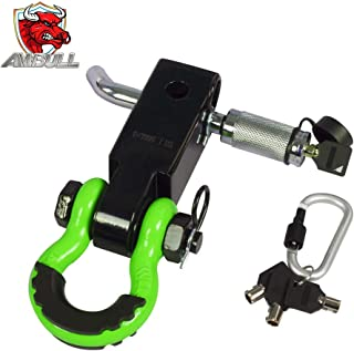 AMBULL Shackle Hitch Receiver 2 Inch, with 3/4 Inch D-Ring Shackle, Locking Pin, 2 Insurance Pins, Heavy Duty Solid Recove...