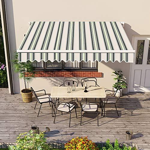 Greenbay 3 x 2.5m DIY Patio Retractable Manual Awning Garden Sun Shade Canopy Gazebo Multi-Stripe with Fittings and Crank Handle