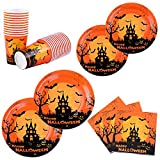 Aneco 122 Pieces Halloween Disposable Dinnerware Set Party Tableware Party Supplies Paper Plates Paper Cups and Napkins for 24 Guests