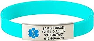 Divoti Custom Engraved Medical Alert Bracelets for Women/Men, Silicone Medical Bracelet, Medical ID Sport w/Free Engraving & Color Options - Blue Caduceus
