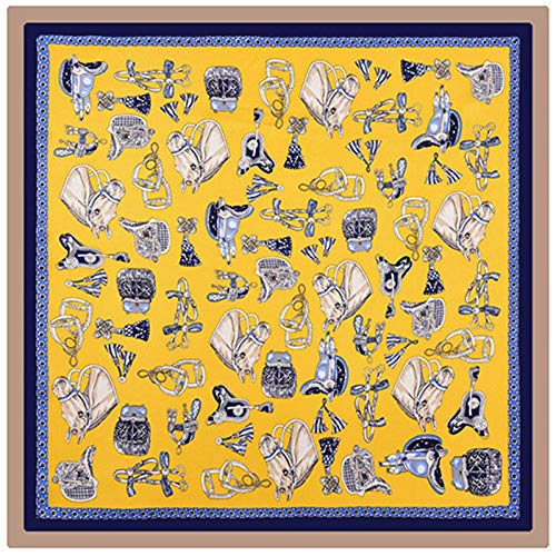 MLDSJQJ Pañuelo Amarillo Pañuelo de Seda 100% Mujeres Cabeza de Caballo y arnés Pañuelo en la Cabeza Estampado Pañuelos Cuadrados 53 * 53 cm