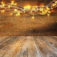 GooEoo 木板テーブルクリスマス暖かいゴールドガーランドライト背景6.5x6.5ftビニール写真の背景素朴な背景光沢のあるライト新年パーティーの装飾子供の家族