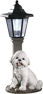 Bits and Pieces-Solar Bichon Lantern-Solar Powered Garden Lantern - Resin Dog Sculpture with LED Light