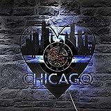 BFMBCHDJ Chicago Cityscape Illinois de Estados Unidos Vinyl Record Reloj de Pared City Skyline Wall Art Decoración para el hogar City Night View Wall Light