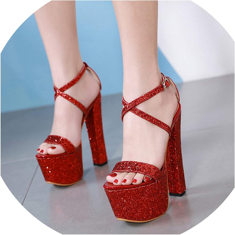 17cm Super High Heels New Sexy Sequins high-Heeled Platform Sandals CWF-my3189-12