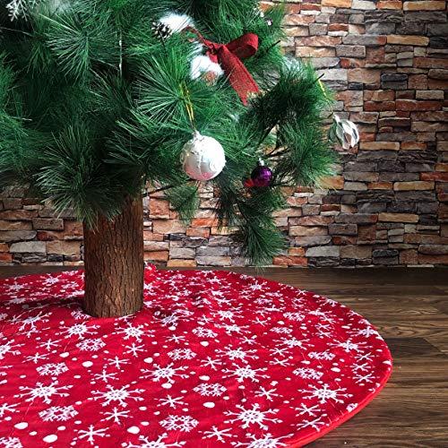 N /A Henrey Tech Weihnachtsbaumrock Weihnachtsbaumdecke Rot Rund Mit Weißen Schneeflocken für Weihnachtsbaum Deko 122 cm