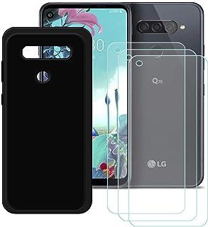 YZKJ Skal för LG Q70 Cover svart silikon skyddsskal TPU skal skal skal + 3 stycken pansarglas skärmskydd för LG Q70 (6,4 tum)
