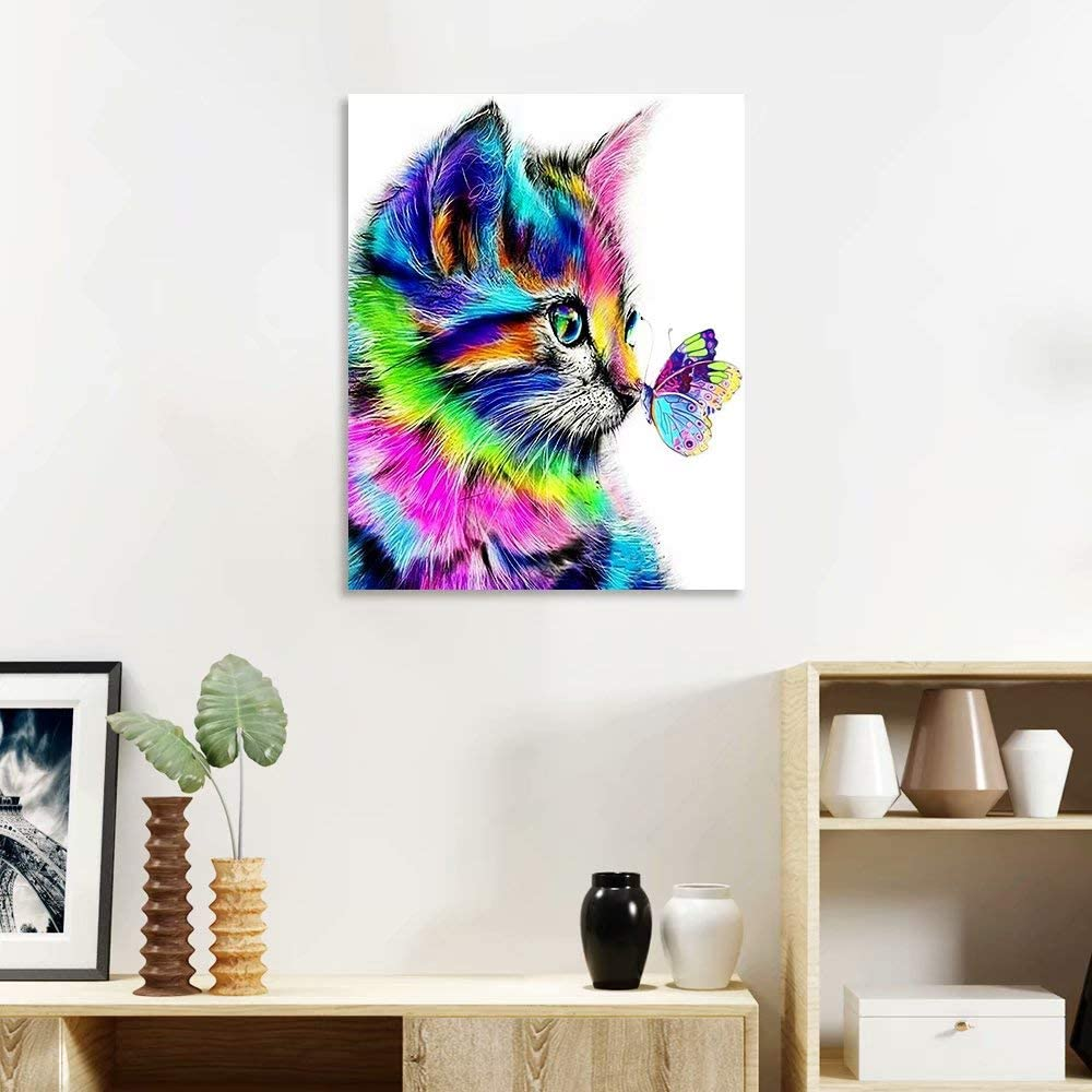 Paint by Numbers for Adults Beginner on Canvas Cat Sniff The Butterfly DIY Oil Painting for Adults Kids Paint by Number 16x20inch