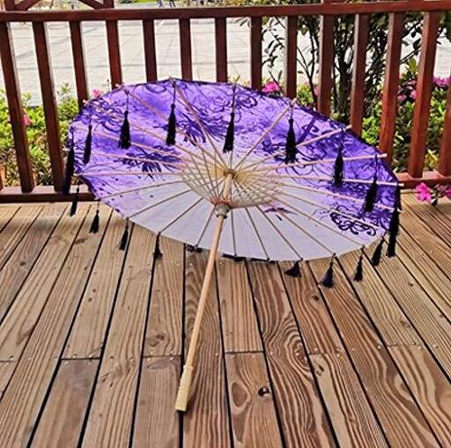 liyuyangxbb Chinesische Seide Regenschirm Anime Frauen Fotografie Cos Prop Antike Tanz Quasten Regenschirm Transparent Japan Papier Hochzeit Sonnenschirm