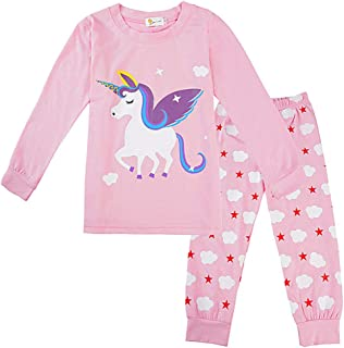 TENDYCOCO Pigiama Bambina Set Top Unicorno E Pantaloni Set Pigiameria Bambini Manica Lunga Cute Pink