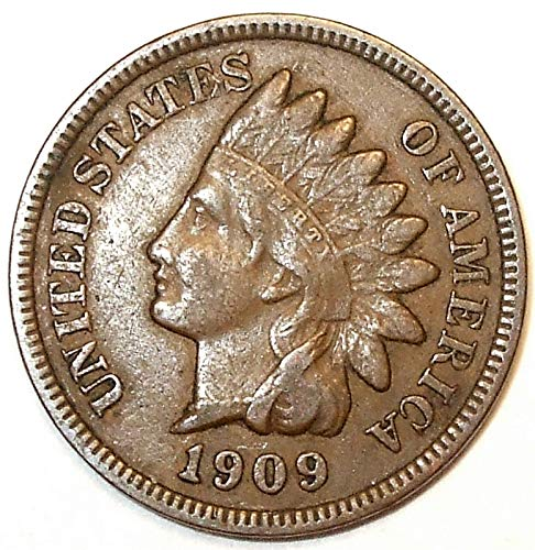 1909 U.S. Indian Head Cent Full LIBERTY Full Rim 1c Fine to XF