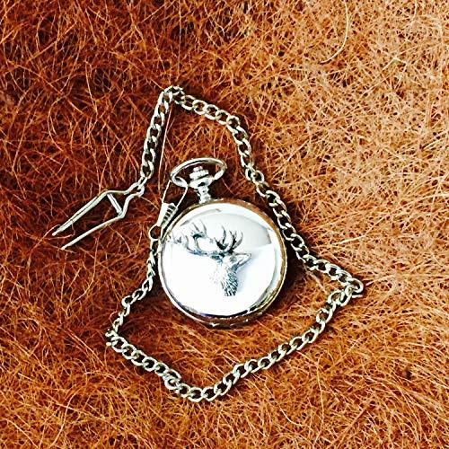 Really Useful Gifts - Orologio da Tasca Cromato con Emblema in Peltro Anticato, con Cervo e Animali della Natura