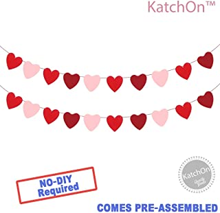 KATCHON Felt Heart Garland Banner - NO DIY - Valentines Day Banner Decor -Valentines Decorations - Anniversary, Wedding, Birthday Party Decorations - Red, Rose Red and Light Pink Color