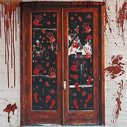 ZHAOZX Horror Halloween Dekoration Wandaufkleber Blutiger Fingerabdruck Blutiger Handabdruck Fuß 3D Wallpaper wasserdichte Bodentür Dekoration