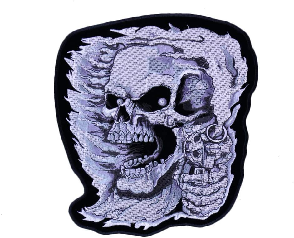 OYSTERBOY Large Rider Miami service Mall Cool Skull Patch with Embroidered Gun