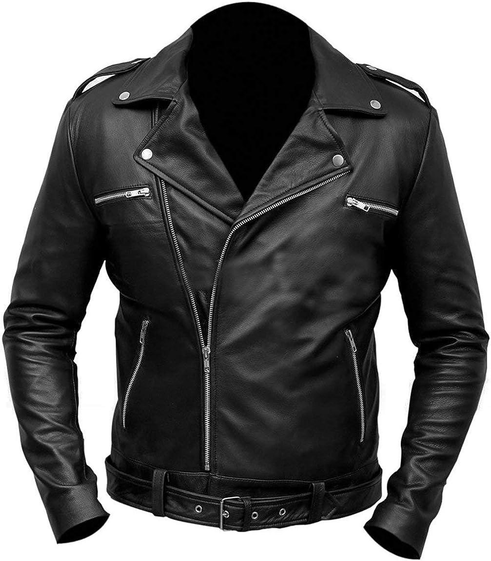 NM-Fashions Mens Negan Jacket Walking S7 Cosplay Jeffrey Dean Morgan Costume Black Leather Belted Biker Jacket