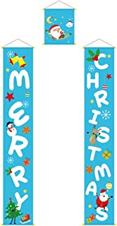 Q&K Christmas Decorations Outdoor Merry Christmas Signs for Front Door or Indoor Home Decor Porch Decorations Christmas Welcome Signs Blue