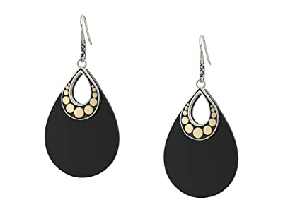 John Hardy Dot French Wire Earrings w/ Black Onyx BG (Silver/Gold) Earring