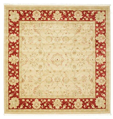 RugVista Teppich Farahan Ziegler, Kurzflor, 250 x 250 cm, Quadratisch, Orient, Öko-Tex Standard 100, Polypropylen, Schlafzimmer, Wohnzimmer, Rot