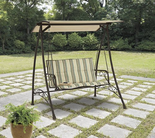 Mainstays Caldwell House Padded Swing, Stripe, Seats 2