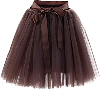 Women's Tutu Tulle Mini A-Line Petticoat Solid Color Prom Party Cosplay Skirt Fun Skirts Coffee