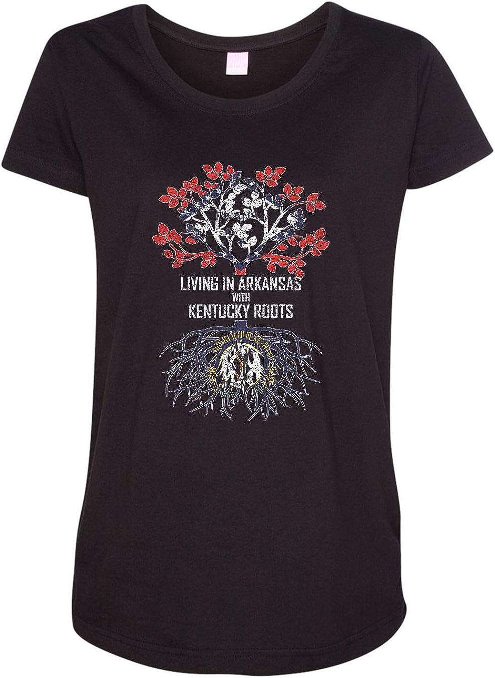 HARD EDGE DESIGN Women's Living in Arkansas with Kentucky Roots T-Shirt