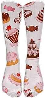 N / A, Delicious Donuts Unisex Patrón de colores Calcetines de equipo Calcetines altos Niño Niña 50 cm / 19.7 pulgadas