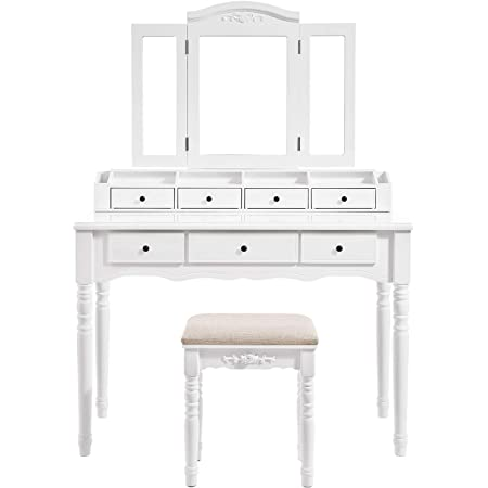 Amazon Com Vasagle Vanity Set Tri Folding Necklace Hooked Mirror 7 Drawers 6 Organizers Makeup Dressing Table With Cushioned Stool Easy Assembly For Women White Urdt06m Home Kitchen